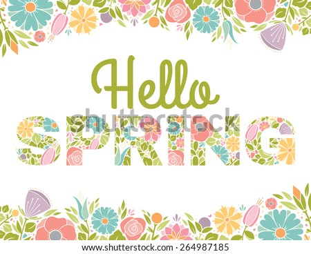 hello spring flowers text