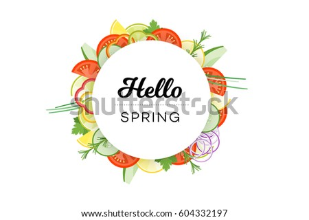 hello spring food banner with