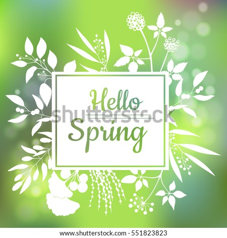 Hello Spring green card design with a textured abstract background and text in square floral frame, vector illustration. Lettering design element