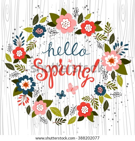 hello spring greeting card