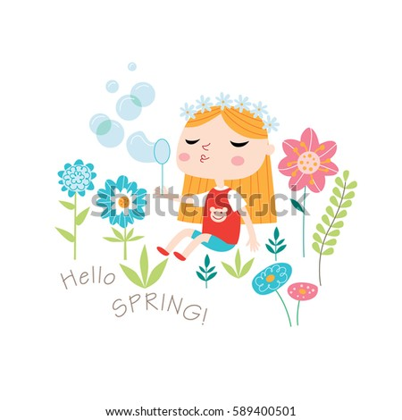 Hello spring! Greeting card in vector. Spring and summer child's outdoor activities. Happy childhood.