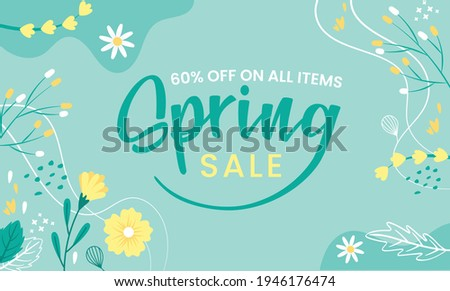 Hello Spring hand logotype, badge typography icon. Lettering spring season with leaf for greeting card, invitation template. Modern lettering banner poster template background, Sale, offer