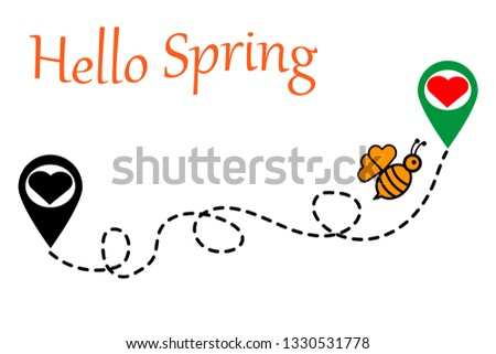 hello spring, illustration for greeting card,wallpaper,poster, t-shirt print and other uses.vector illustration with a flying bee and heart location for t-shirt print
