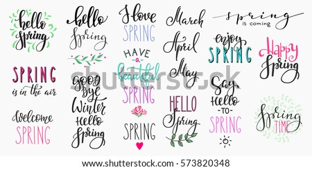 Hello spring lettering typography set. Calligraphy postcard or poster graphic design element. Hand written style card. Simple vector brush sign. Good bye winter quote
