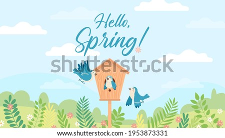Hello Spring positive cartoon illustration with birds and birdhouse. Vector graphic clip art for wallpaper, print, banner, web page. Sky, clouds, blue birds, forest, plants, flowers. ストックフォト ©