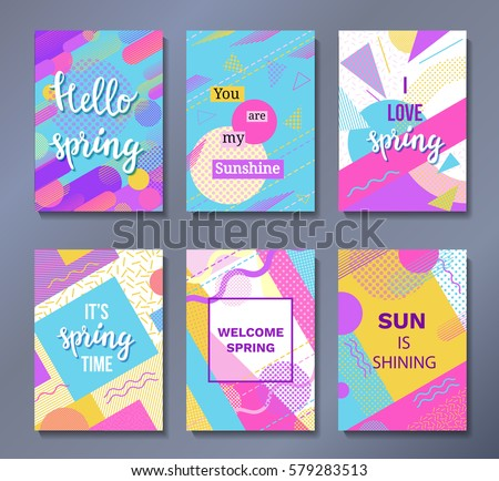 Hello spring posters set in trendy 80s-90s memphis style with geometric patterns and shapes. Vector illustration with lettering and colorful background