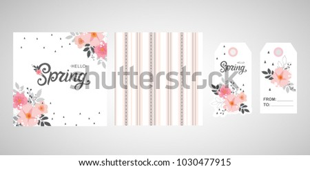 Hello Spring set. Hello Spring typography vector design for greeting cards and poster. Hand lettering text isolated on pink background. Design template celebration. Vector illustration.