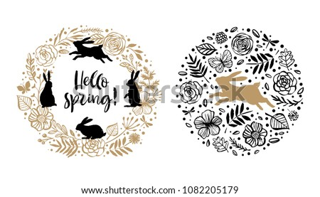 hello spring silhouette of a