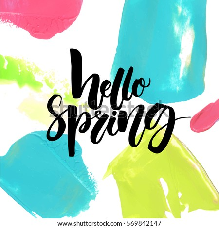 hello spring text on colorful