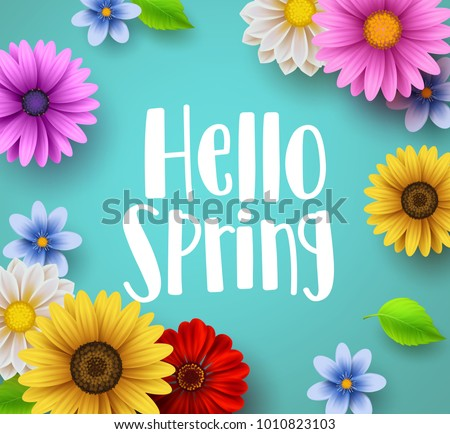 hello spring text vector banner ...