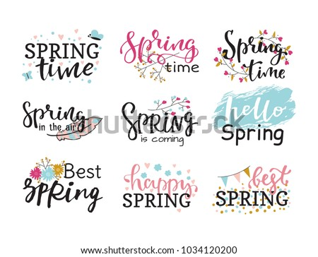 Hello spring time vector lettering text greeting card special springtime typography hand drawn Spring graphic illustration badge