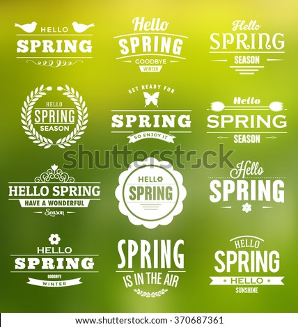 Hello Spring Typographic Vector Design Collection - A set of twelve vintage style spring designs on green background