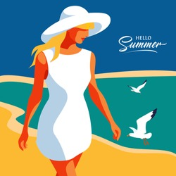Hello Summer. Abstract young girl wearing summer dress and big hat, walking on the beach. Sea background with gulls. Vector illustration