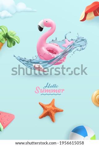 Hello summer background. 3d vector realistic illustration. Flamingo inflatable toy, starfish, water splash