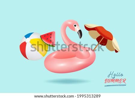 Hello summer background. Flamingo inflatable toy, watermelon, beach umbrella, beach ball. Summer festive background. İllustration - Vector. Photo stock ©