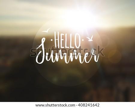 Hello Summer background. Summer travel vocation rest concept vector.
