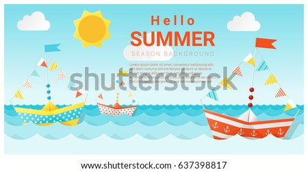 Hello summer background with colorful paper ship , vector , illustration