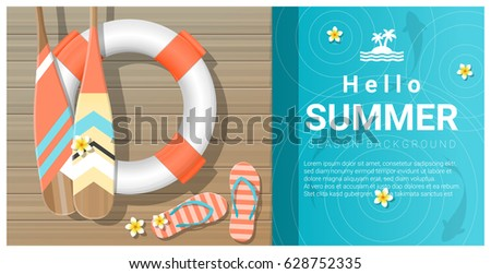 Hello summer background with wooden pier over the sea , vector , illustration