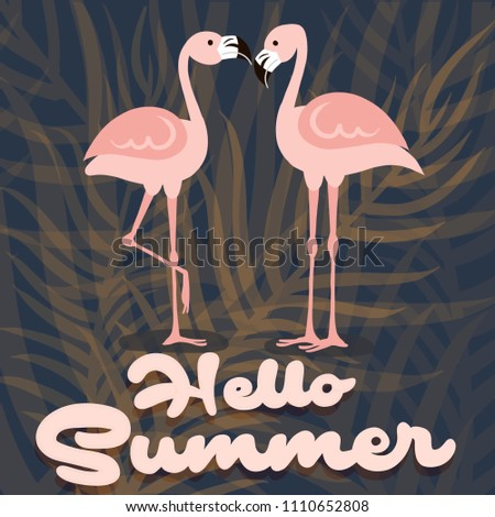 Hello Summer banner. 3Happy summer Day. Summer vector Lettering text. Fashionable styling. flamingo and left  vector.