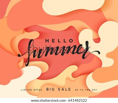 hello summer banner. melted 3d...