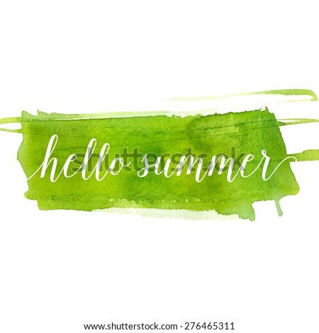 hello summer banner on green