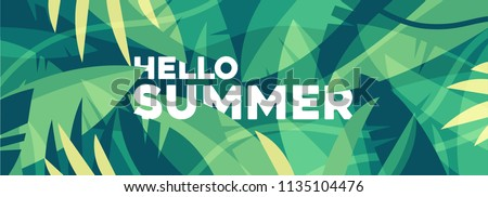 Hello summer banner, summer mood. Tropical background with colorful palm leaves. Jungles vector illustration.