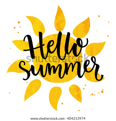 hello summer banner typography