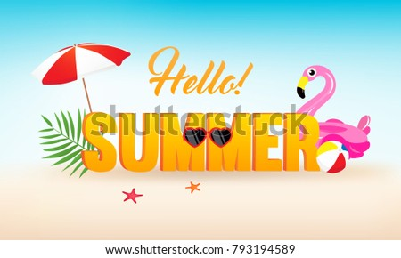 hello  summer banner vector