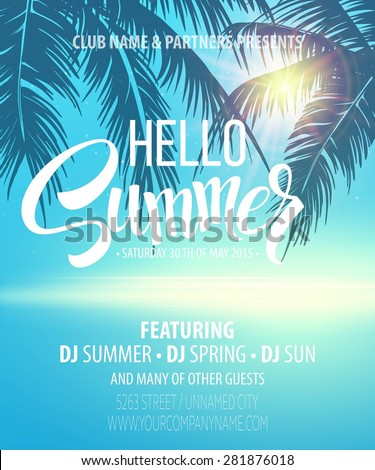 hello summer beach party flyer