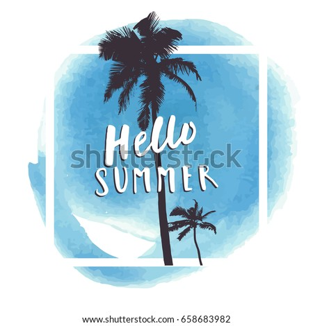 hello summer blue watercolor