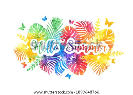 Hello summer bright rainbow banner, postcard. Vector Watercolor splash background  Zdjęcia stock ©
