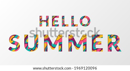 Hello Summer calligraphic text with paper cut origami effect background. Summer card with greeting to its start papercut text. Hello to summer inscription cut of colorful paper