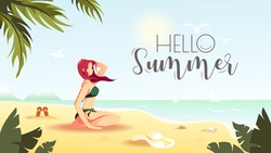 Hello Summer card design with woman sitting on the seashore sand. Vector Illustration for Beach Holidays, Summer vacation, Leisure, Recreation.