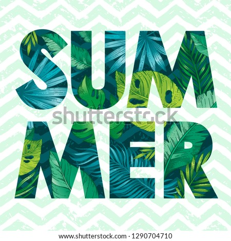 Hello Summer card poster with text, tropic leaf seamless pattern. Hand drawn doodle flyer art with summertime symbols & paradise element for party invitation, print design. Vector zig zag background Zdjęcia stock ©