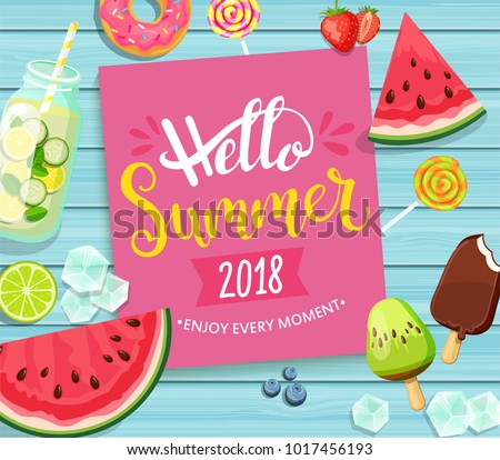 hello summer 2018 card with