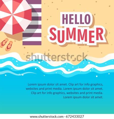 Hello summer concept vector illustration. Template for poster, banner, card, flyer etc.