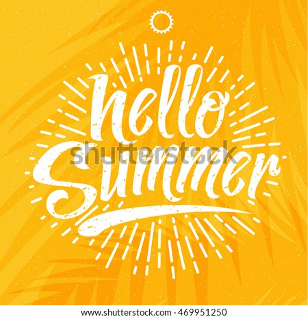Hello Summer, creative graphic message for your summer design. Retro typography sign with starburst