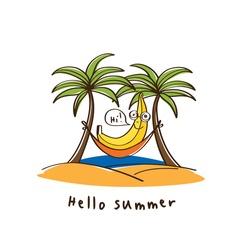 Hello summer. Cute banana in a hammock on beach under two palm tree. Vector.