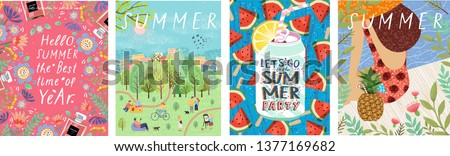 Hello summer! Cute vector illustration for summer backgrounds, cards, posters and flyers. Drawings from the hands of the woman on the beach, soda and leisure people in the park