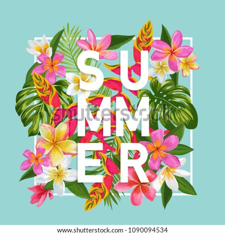 hello summer floral poster