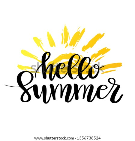 Hello Summer hand drawn brush lettering. logo Templates. Isolated Typographic Design Label with black text and yellow doodle sun icon.