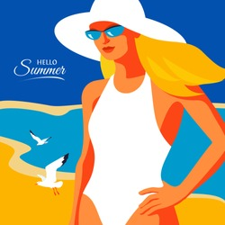 Hello Summer, holiday concept. Abstract woman wearing swimsuit and hat standing on the beach. Sea, sky, gulls, girl. Vector illustration