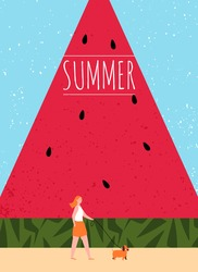 Hello summer. illustration for summer background, card, poster, and flyer. woman walking with dog in summer with giant watermelon Flat vector cartoon