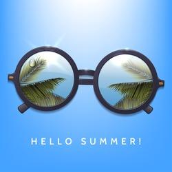 Hello summer illustration. Palms reflection in round sunglasses. Blue sky background.Flecks of sunlight. Vector eps 10.