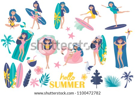 Stock Photo Hello summer illustration. Set of Summer elements with relaxing girl on the beach and tropical plants. Editable vector illustration