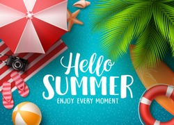 Hello summer in the beach vector background. Hello summer text with colorful beach elements like ball, lifebuoy and umbrella under palm tree in blue background. Vector illustration.