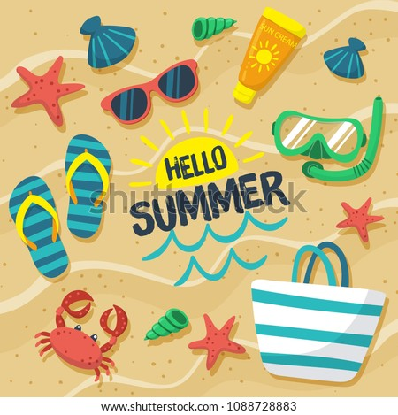 Hello Summer in the Sand Colorful Text and Background with Summer Season Items in the Beach. Vector Illustration
