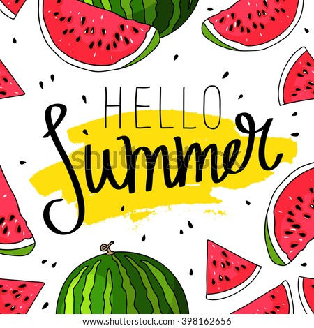 hello summer inscription on the
