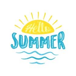 Hello summer letter with sun vector concept design. Vintage letter hello summer for element design. Vector illustration EPS.8 EPS.10