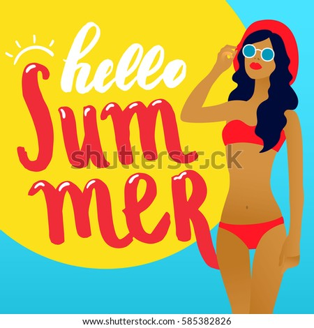 hello summer lettering card